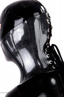 Preview: Black latex bondage neck corset with o-ring and lacing
