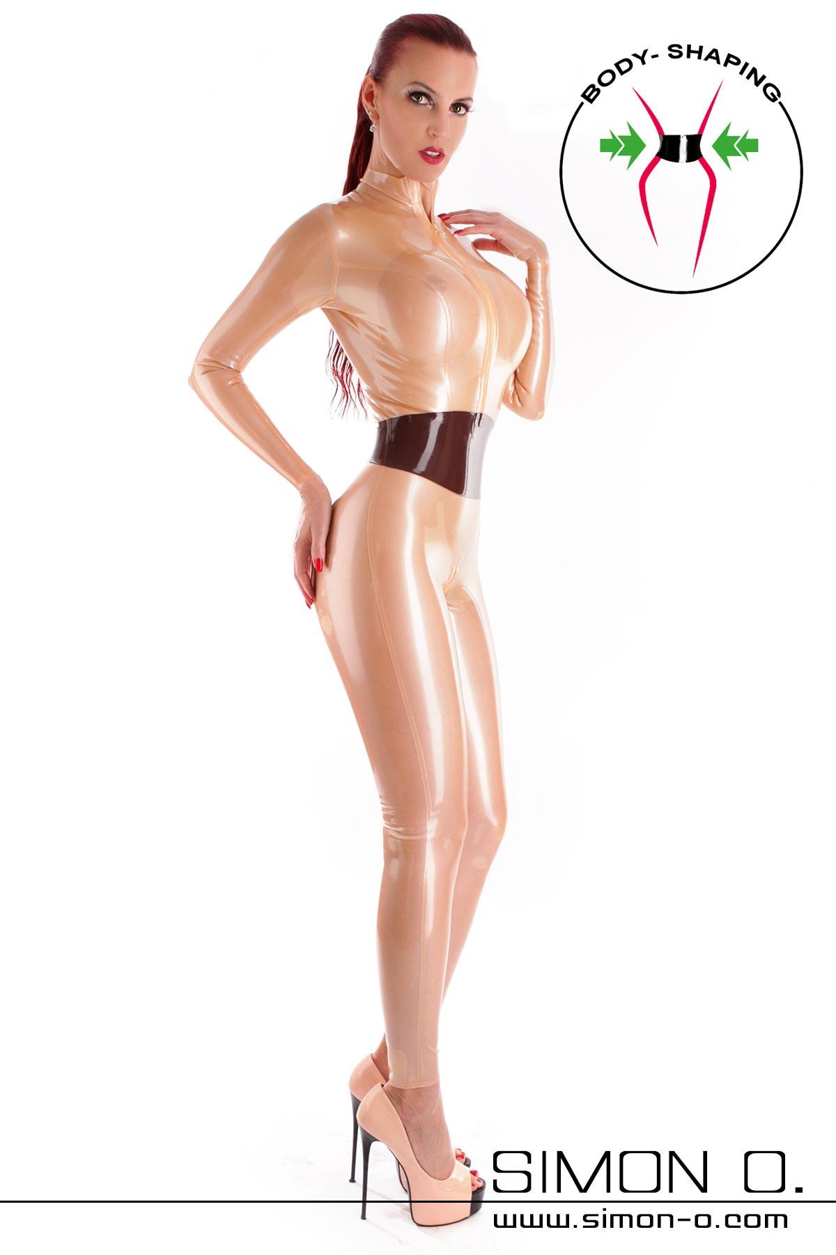 Latex Catsuit mit Zipp vorne in Metallic Transparent mit eingearbeiteten Taillengürtel von vorne gesehen