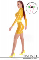 Preview: Long sleeve latex mini dress with integrated waist belt Sexy latex mini dress with skin tight fit. The integrated waist belt made of thick latex is made of …