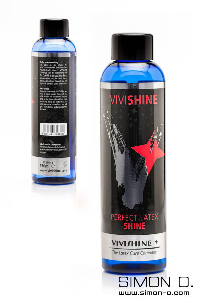 Latex shine polish by Vivishine in a blue bottle