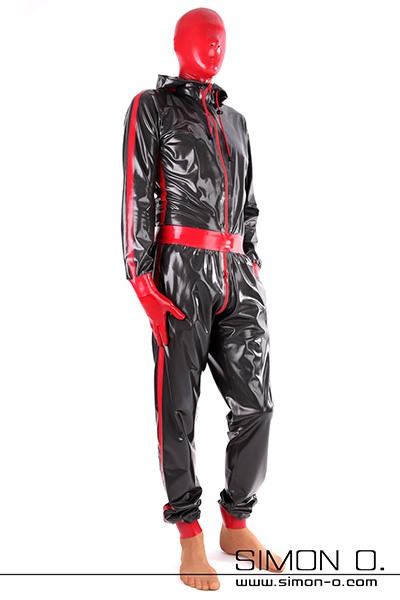 Configurable Hooded Latex Catsuit With Pockets for Men