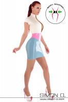 Vorschau: Latex Minikleid dreifarbig mit kurzen Ärmeln Zipp vorne und eingearbeiteter Miedergürtel