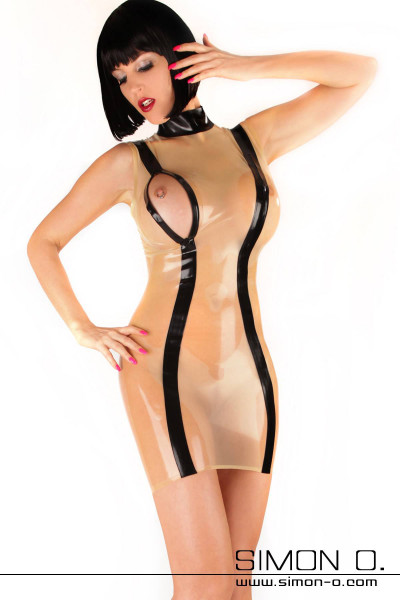 Latex mini dress with breast zipper This exciting latex mini dress has incorporated zippers in the chest area which can be opened if necessary. The black …