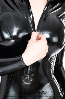Preview: Shiny black ladies latex catsuit with zipper in the front