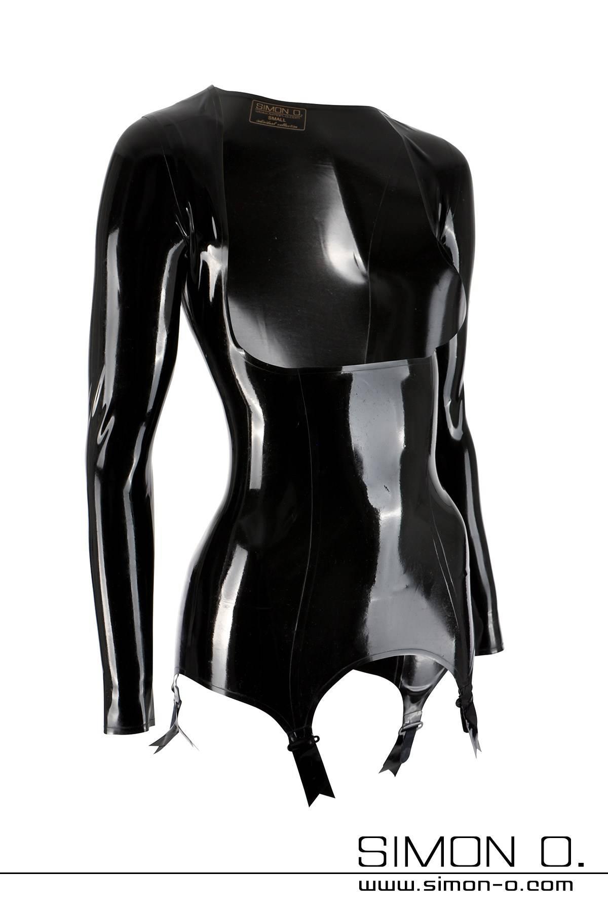 Sexy Latex Torselett. Brustfrei mit langen Armen und 4 Strapshaltern.Qualitativ sehr hochwertige und liebervolle Verarbeitung bis ins Detail. …