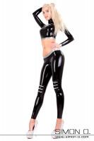Vorschau: Latex leggings with inserted zippers in different colors Sexy Latex Leggings mit hinterlegten Reißverschlüssen im Kniebereich. Die Reißverschluß Farbe kann …