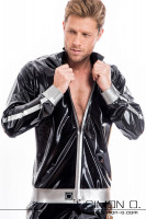 Preview: A man wears a shiny latex jacket with pockets in black combined with silver