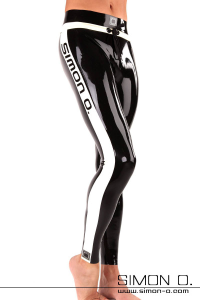 Fitness latex leggings for men in black with white applications front view