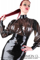 Preview: Latex blouse in black transparent with stand-up collar and dividable zipper in the back