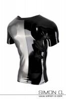 Vorschau: Kurzarm Latex Shirt zweifarbig mit Simon O. Logo. Eine Hälfte ist metallic Silber und die andere Hälfte ist in Schwarz.