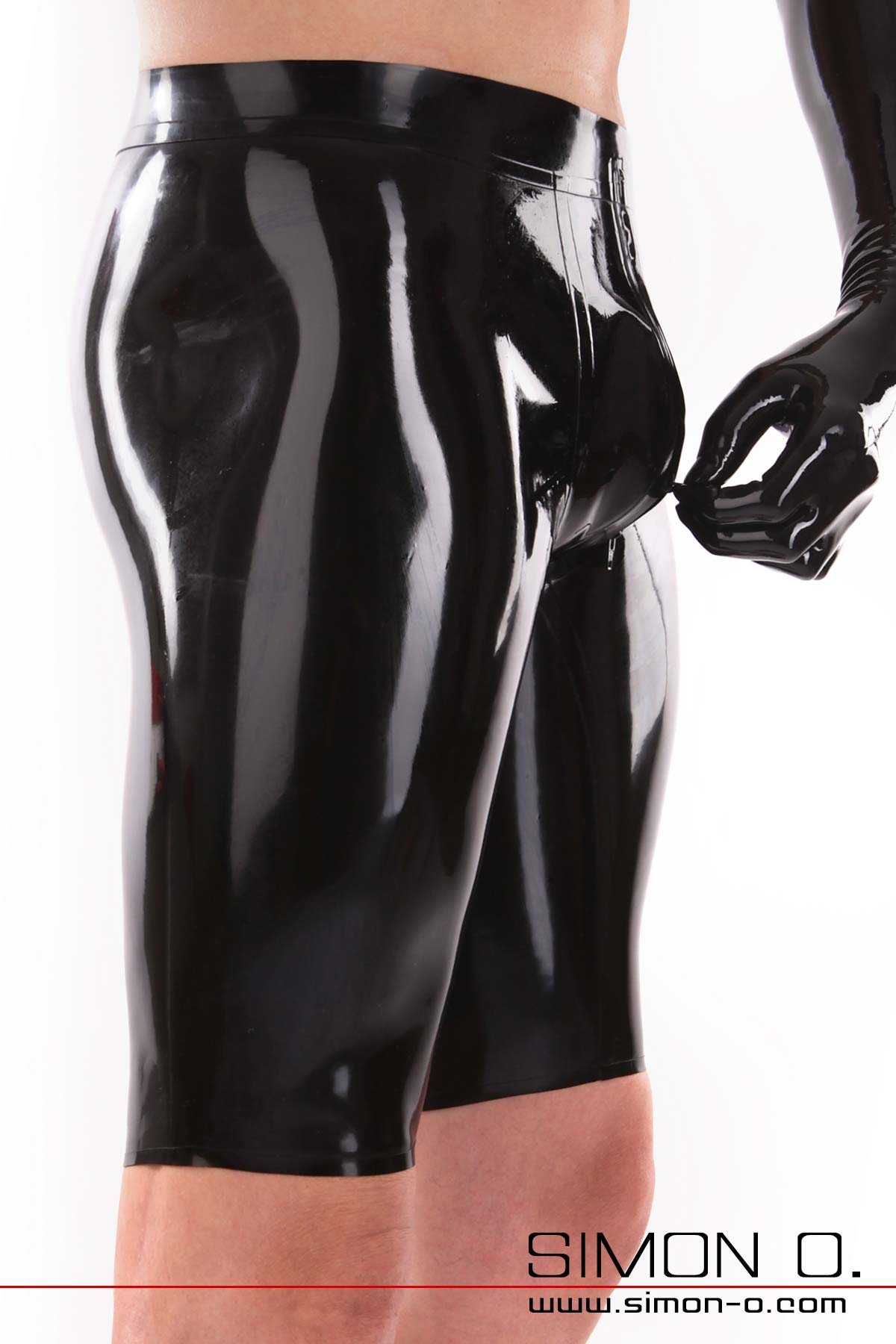 Black latex Bemuda shorts with white waistband and zipper in the crotch