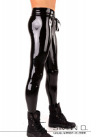 Preview: Black shiny training pants with drawstring and wide waistband made of skintight shiny latex