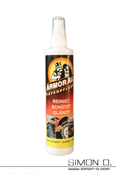 A bottle for latex care with pump spray head with Amor All label