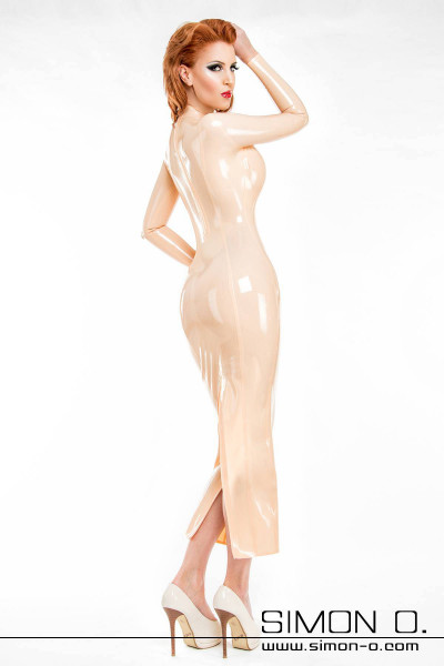 Figure-hugging latex dress in the color Mannequinn elegant latex evening dress with zipper behind