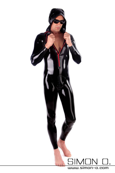 A man in a wet look latex suit with hood front is a red zipper and a zipper in crotch