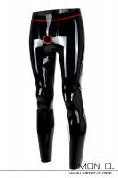 Vorschau: Glänzende hautenge Latex Leggings in Schwarz mit rotem Cock Ring