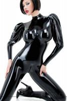 Vorschau: Sexy Wet Look Catsuit aus Latex in Schwarz mit Puffärmel