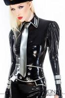 Vorschau: Kurze Latex Stulpen im Uniform Stil passend zu unseren Military Dress oder Bluse mit Rock. Abgebildete Latex Armstulpen: Farbe 1:Schwarz …