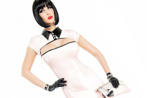 Elegant ladies latex mini dress with lapel collar