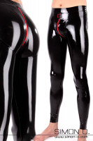 Preview: Tight latex leggings for men with push up effect in the seat area. Shiny black with full-length zipper at crotch