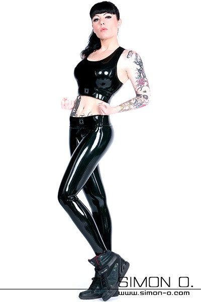 Hautenge schwarze Latex Leggings