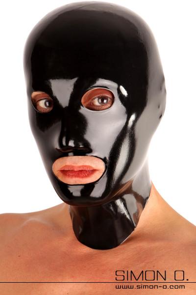 Seamlessly dipped mask including chlorination from Fetisso A latex mask with open mouth and eyes which is protected by a fine border against tearing. The eye …