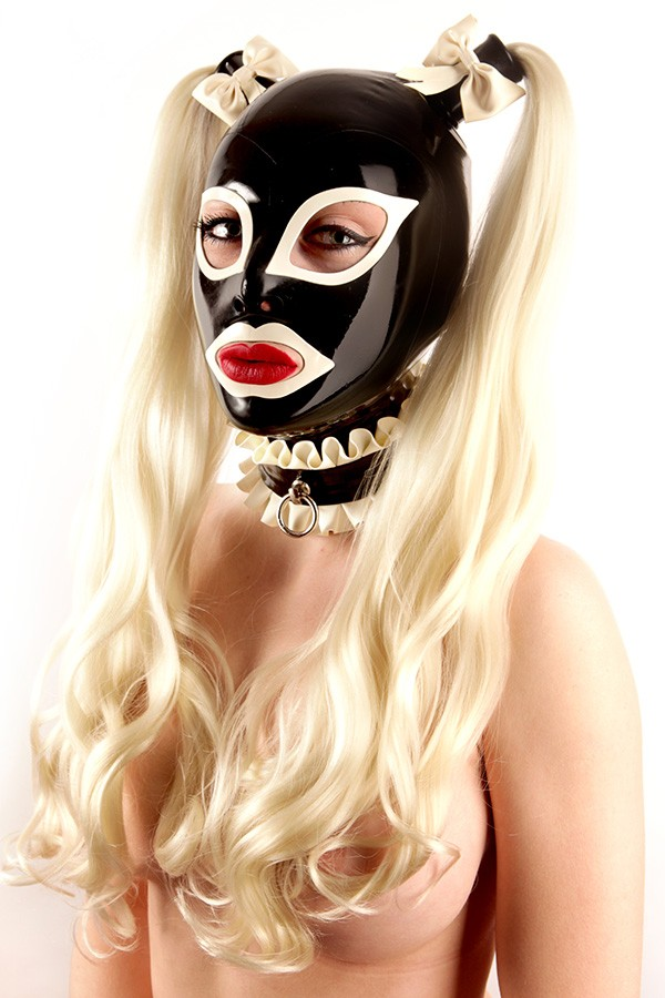 Latex hood in black with braids with white eyes and mouth in maid look