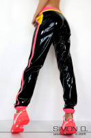Preview: Black wet look sweatpants made from latex with pockets and colour contrasting stripes