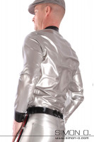 Preview: Glossy latex men shirt in silver with lapel collar in black seen from behind
