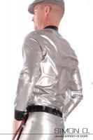 Vorschau: Glanz Latex Herren Hemd in Silber mit Reverskragen in Schwarz von hinten gesehen