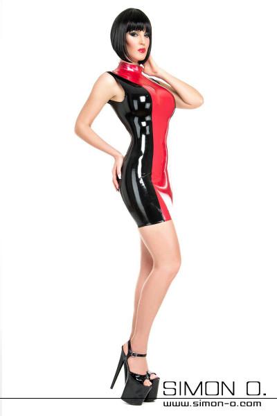 Latex Mini Kleid mit Stehkragen Der Einstiegszipp befindet sich hinten. Perfekte Passform durch aufwendig gearbeiteten Schnitt. Alle Ränder eingefasst. In …