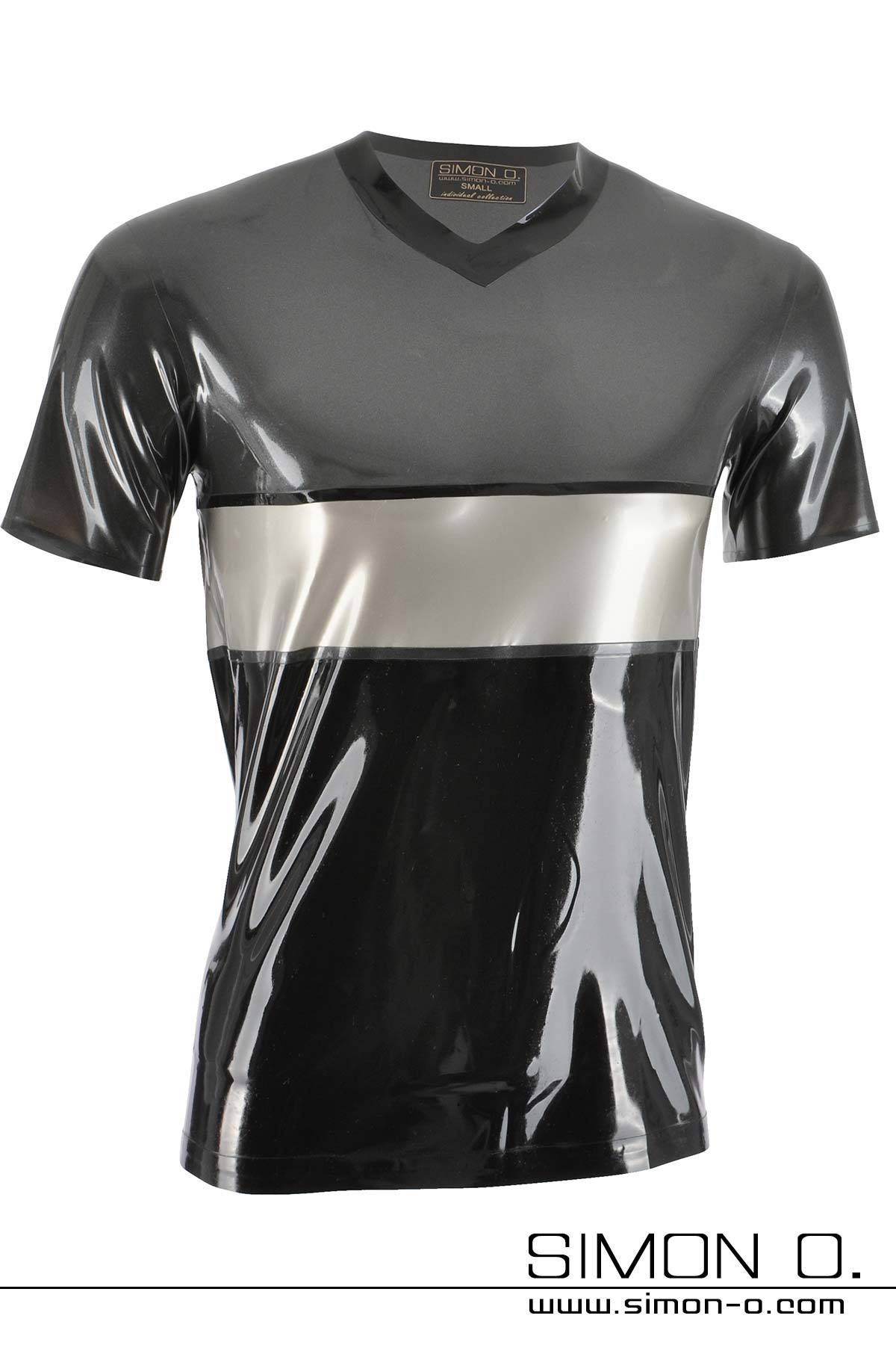 Tricolor short-sleeved latex shirt in the colors metallic grey, silver and black