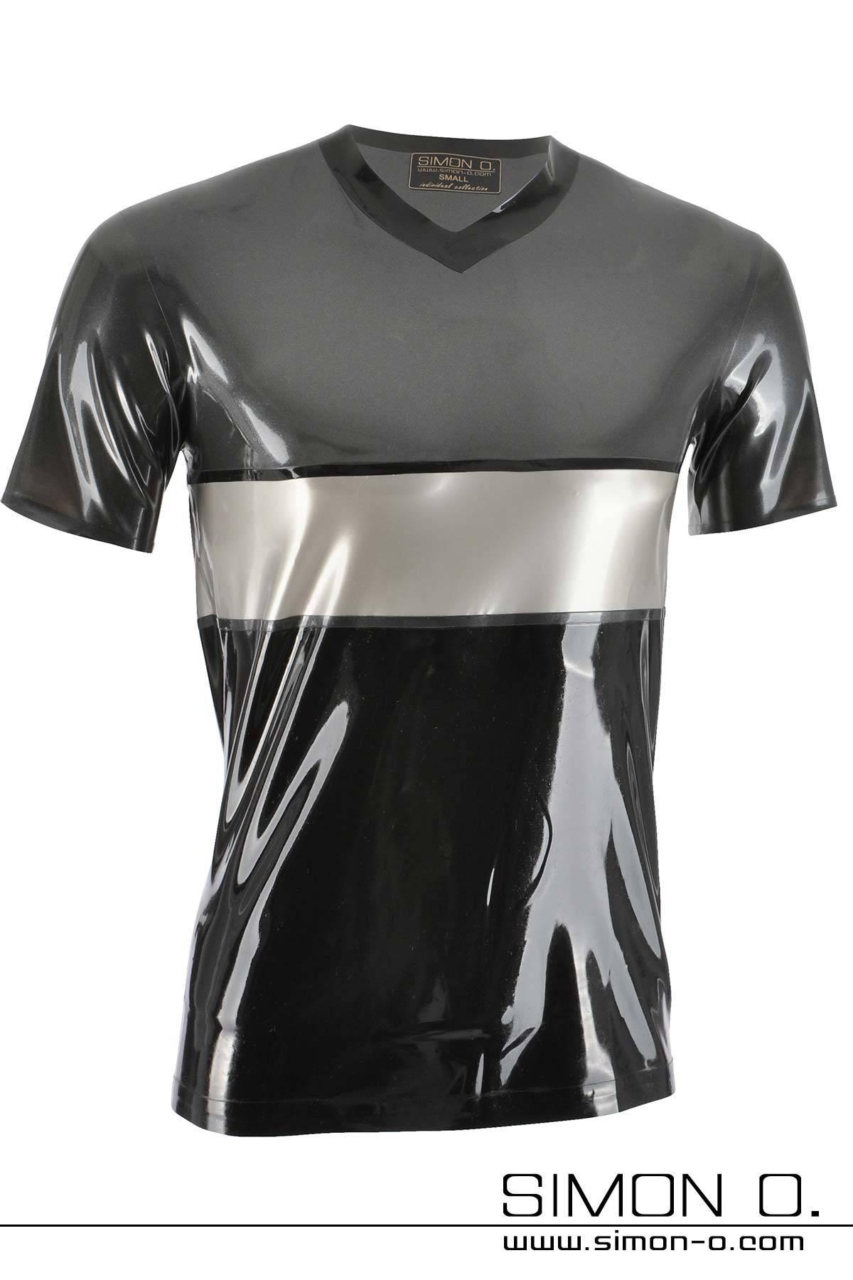 Latex Herren Shirt im dreifarbigen Design Herren Latex Shirt mit V - Ausschnitt und Viertelarm. Im dreifarbigen Design. Mit der großen Auswahl an Farben …