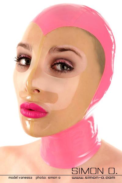 Latex Maske mit transparenten Gesicht Glänzend Transparent legt sich das dünne dursichtige Latex dieser Latex Maske auf Ihr Gesicht. Augen und Mund sind …