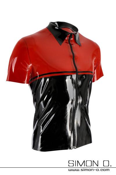 Latex Shirt mit Reverskragen in der Farbe Schwarz mit Rot und teilbaren schwarzen Reißverschluss vorne