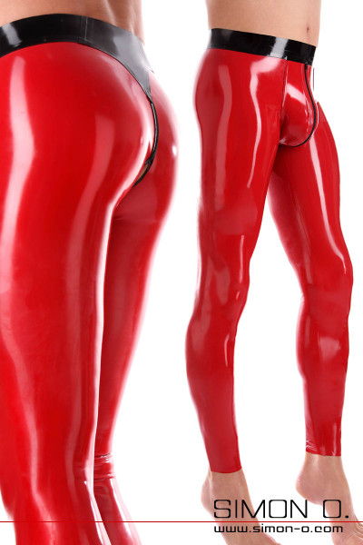 Red latex leggings with 3D bulge. The waistband and the zip in the crotch are black.