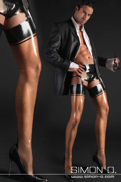 Men's Latex Stockings with Back Seam and Cuban Heel Designed to accommodate a man's body, these fine latex stockings with exquisitely erotic back seam, …