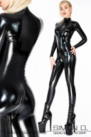 Preview: Skin tight ladies latex catsuit with zip in crotch and zip in front, back view