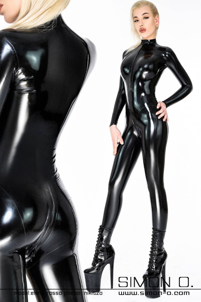 Skin tight ladies latex catsuit with zip in crotch and zip in front, back view