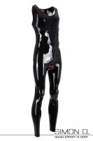 Preview: Sleeveless latex suit in black with round neckline and cock ring at crotch