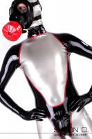 Vorschau: Herren Latexanzug mit Zipp im Schritt in silber mit schwarz und rot