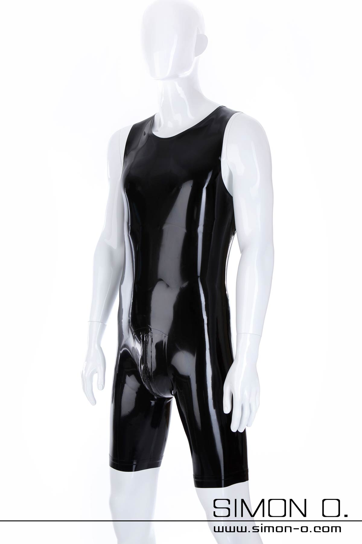 Black latex surfsuit with round neckline and zip in crotch