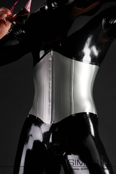 Due to its simplicity, this latex corset for men is particularly suitable to be worn under normal clothing. In our photos, this latex corset is worn over a …