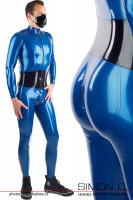 Vorschau: Ein Mann trägt einem blauen Latex Catsuit mit integrierten Mieder und Push Up Gesäßbereich