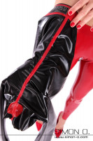 Vorschau: Detailfoto Latex Leggings in Schwarz mit Cameltoe Schrittbereich