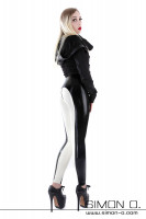 Preview: shiny latex riding breeches with zipper in the crotch in the colour black with white
