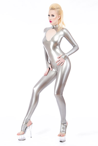 Damen Latex Catsuit in Silber