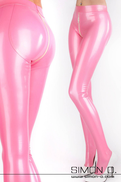 High gloss latex tights with crotch zip back and front