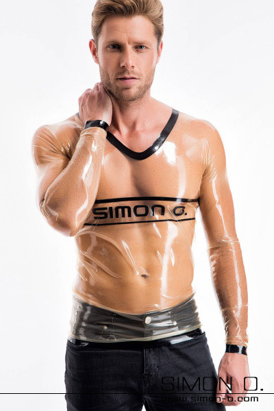 Here we present you our latex shirt for men with long sleeves, V-neck and our Simon O. brand logo accross the chest area. This razor-thin latex shirt clings …