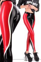 Vorschau: Hautenge sportliche Glanz Leggings Die Leggings ist Schwarz mit einem roten und dünneren weißen Streifen